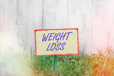 Writing note showing Weight Loss. Business concept for a reduction of the total body mass due to a mean loss of fluid Plain paper attached to stick and placed in the grassy land
