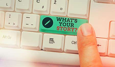 Text sign showing What S Your Story Question. Business photo text Share or tell us your life experiences and success White pc keyboard with empty note paper above white key copy space