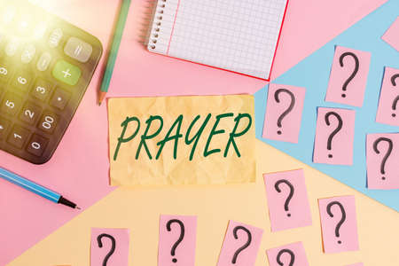 Writing note showing Prayer. Business concept for solemn request for help or expression of thanks addressed to God Mathematics stuff and writing equipment above pastel colours background
