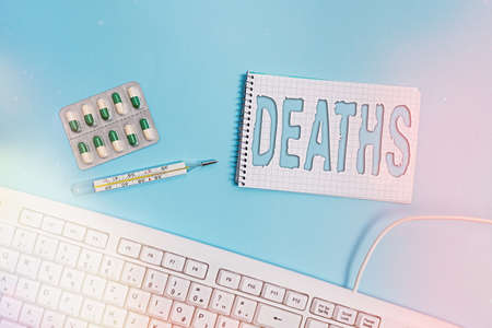 Conceptual hand writing showing Deaths. Concept meaning permanent cessation of all vital signs, instance of dying individual Set of medical equipment with notepad for health assessment