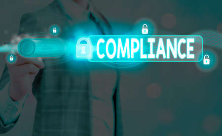 Word writing text Compliance. Business photo showcasing the action or fact of complying with a wish or commands Graphics padlock for web data information security application system