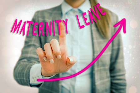 Word writing text Maternity Leave. Business photo showcasing a leave of absence for an expectant or a new mother digital arrowhead curve rising upward denoting growth development concept