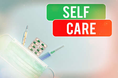 Text sign showing Self Care. Business photo showcasing the practice of taking action to preserve or improve one s is health Primary medical precautionary equipments for health care protection