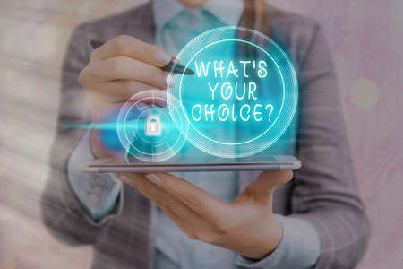 Text sign showing Whats Your Choice Question. Business photo showcasing Option Decision Preferred Opinion Preference Graphics padlock for web data information security application system