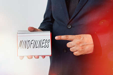 Handwriting text Mindfulness. Conceptual photo state of mind attained by concentrating one s is attention Model displaying different empty color notepad mock-up for writing idea 版權商用圖片