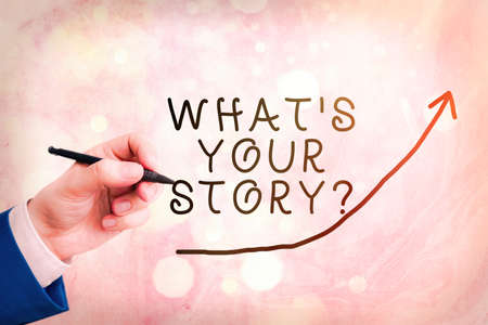 Handwriting text writing What S Your Story Question. Conceptual photo Share or tell us your life experiences and success digital arrowhead curve rising upward denoting growth development concept