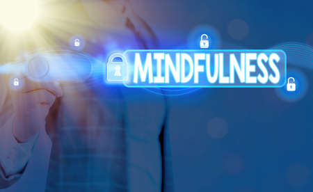 Word writing text Mindfulness. Business photo showcasing state of mind attained by concentrating one s is attention Graphics padlock for web data information security application system 版權商用圖片