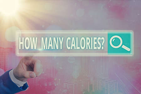 Handwriting text writing How Many Calories Question. Conceptual photo asking how much energy our body could get from it Web search digital information futuristic technology network connection