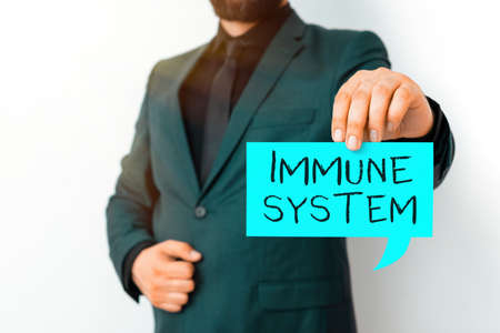 Writing note showing Immune System. Business concept for a bodily system that protects the body from foreign substances Displaying different color mock up notes for emphasizing content