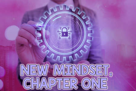 Writing note showing New Mindset, Chapter One. Business concept for change on attitudes and thinking Improve hard work Graphics padlock for web data information security application system
