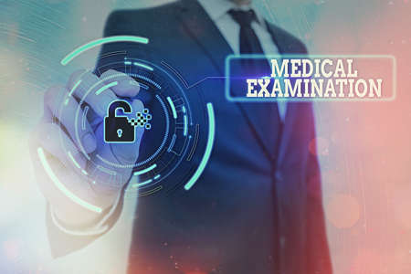 Writing note showing Medical Examination. Business concept for the examination carried out to determine physical fitness Graphics padlock for web data information security application system 版權商用圖片