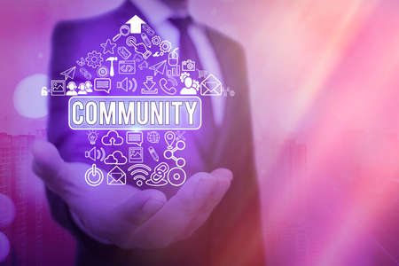 Word writing text Community. Business photo showcasing group of showing with a common characteristics living together Information digital technology network connection infographic elements icon
