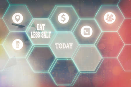 Handwriting text writing Eat Less Salt. Conceptual photo reducing the sodium intake on the food and beverages Grids and different set up of the icons latest digital technology concept