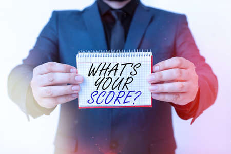 Writing note showing What S Your Score Question. Business concept for Tell Personal Individual Rating Average Results Statistics Model displaying different empty color notepad mock-up for writing idea