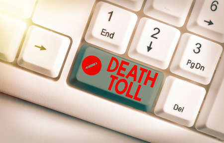 Text sign showing Death Toll. Business photo text the number of deaths resulting from a particular incident White pc keyboard with empty note paper above white key copy space 版權商用圖片