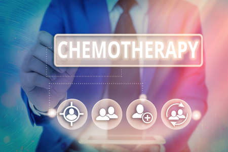 Writing note showing Chemotherapy. Business concept for the treatment of disease by the use of chemical substances Information digital technology network infographic elements