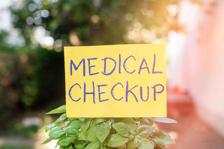 Handwriting text writing Medical Checkup. Conceptual photo the examination carried out to determine the physical fitness Plain empty paper attached to a stick and placed in the green leafy plants