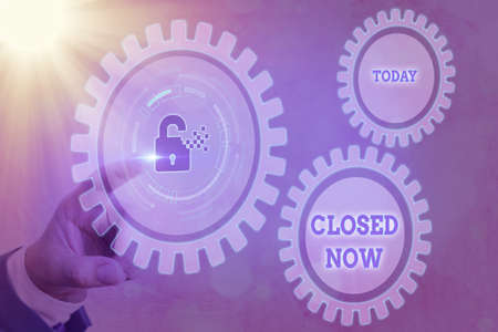 Writing note showing Closed Now. Business concept for of a business having ceased trading especially for a short period Graphics padlock for web data information security application system