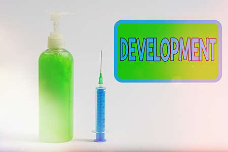 Text sign showing Development. Business photo text a cycle in which somebody or something grows or changes Primary medical precautionary equipments for health care protection