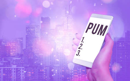 Writing note showing Pum. Business concept for unwanted change that can be performed by legitimate applications Modern gadgets white screen under colorful bokeh background