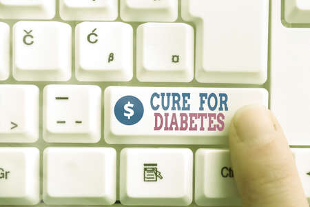 Writing note showing Cure For Diabetes. Business concept for looking for medication through insulindependent Pc keyboard key with pointing finger above background copy space