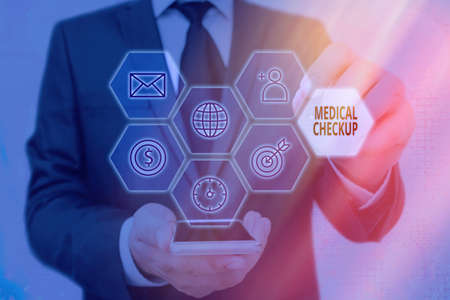 Writing note showing Medical Checkup. Business concept for the examination carried out to determine the physical fitness Grids and different icons latest digital technology concept