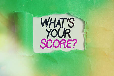 Word writing text What S Your Score Question. Business photo showcasing Tell Personal Individual Rating Average Results Statistics Rolled ripped torn cardboard placed above a wooden classic table backdrop