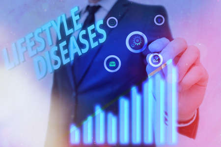 Text sign showing Lifestyle Diseases. Business photo text a disease associated with the way an individual lives Arrow symbol going upward denoting points showing significant achievement 免版税图像