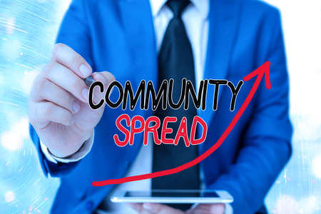 Word writing text Community Spread. Business photo showcasing dissemination of a highlycontagious disease within the local area digital arrowhead curve rising upward denoting growth development concept