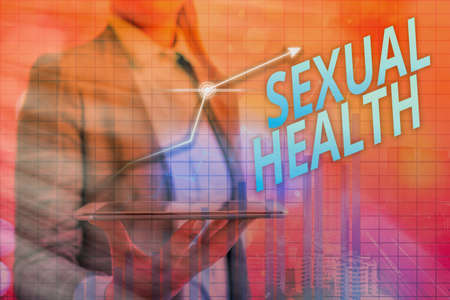 Handwriting text Sexual Health. Conceptual photo Ability to embrace and enjoy sexuality throughout our lives Arrow symbol going upward denoting points showing significant achievement Stock Photo