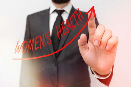 Text sign showing Womens Health. Business photo showcasing treatment and diagnosis of diseases related to health digital arrowhead curve rising upward denoting growth development concept Фото со стока