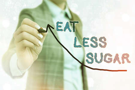 Writing note showing Eat Less Sugar. Business concept for reducing sugar intake and eating a healthful diet rich foods Digital arrowhead curve denoting growth development concept