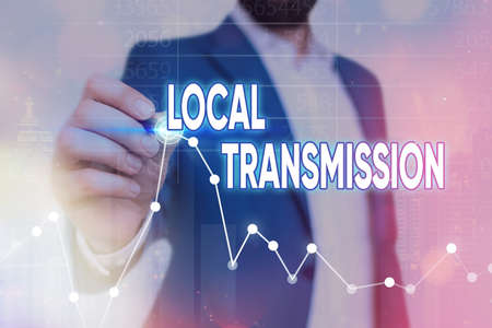Writing note showing Local Transmission. Business concept for clusteredacquired infection cases sourced from a certain location Arrow symbol going upward showing significant achievement
