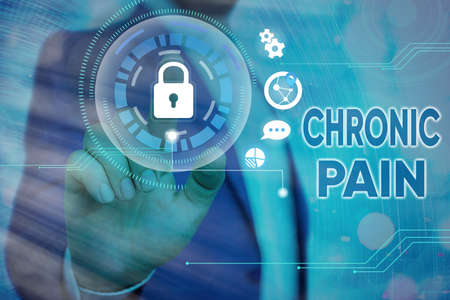 Handwriting text writing Chronic Pain. Conceptual photo discomfort that persists or progresses over a long period Graphics padlock for web data information security application system Banque d'images