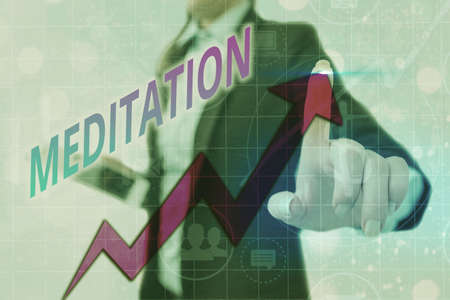 Writing note showing Meditation. Business concept for achieve a mentally clear and emotionally calm and stable state Arrow symbol going upward showing significant achievement