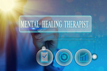 Writing note showing Mental Healing Therapist. Business concept for helping an individual express emotions in healthy ways Information digital technology network infographic elements