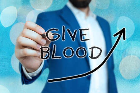 Conceptual hand writing showing Give Blood. Concept meaning an individual voluntarily has blood drawn and used for transfusions Digital arrowhead curve denoting growth development concept