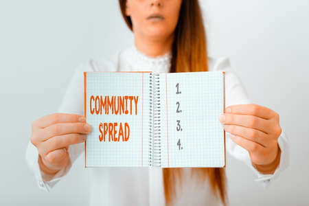 Word writing text Community Spread. Business photo showcasing dissemination of a highlycontagious disease within the local area Model displaying different empty color notepad mock-up for writing idea Reklamní fotografie