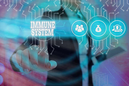 Writing note showing Immune System. Business concept for a bodily system that protects the body from foreign substances System administrator control, gear configuration settings tools concept