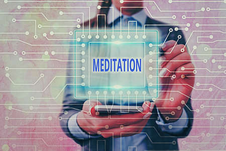 Text sign showing Meditation. Business photo text achieve a mentally clear and emotionally calm and stable state System administrator control, gear configuration settings tools concept Фото со стока