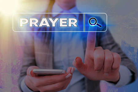 Writing note showing Prayer. Business concept for solemn request for help or expression of thanks addressed to God Web search digital information futuristic technology network connection
