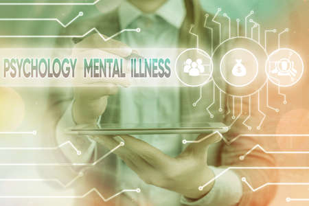 Text sign showing Psychology Mental Illness. Business photo text a behavioral pattern that causes significant distress System administrator control, gear configuration settings tools concept