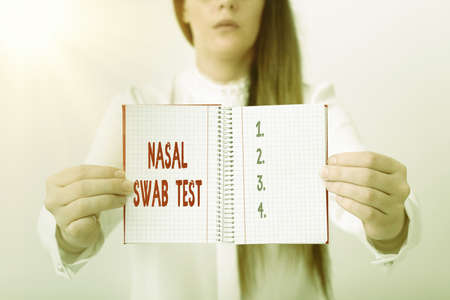 Word writing text Nasal Swab Test. Business photo showcasing diagnosing an upper respiratory tract infection through nasal secretion Model displaying different empty color notepad mock-up for writing idea