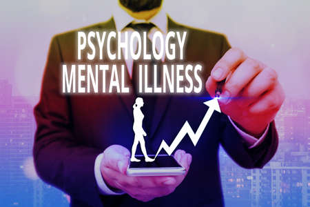 Writing note showing Psychology Mental Illness. Business concept for a behavioral pattern that causes significant distress Arrow symbol going upward showing significant achievement