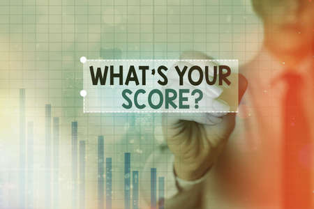 Text sign showing What S Your Score Question. Business photo showcasing Tell Personal Individual Rating Average Results Statistics Arrow symbol going upward denoting points showing significant achievement Stok Fotoğraf
