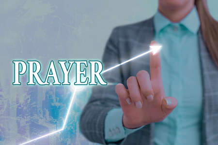 Writing note showing Prayer. Business concept for solemn request for help or expression of thanks addressed to God Arrow symbol going upward showing significant achievement