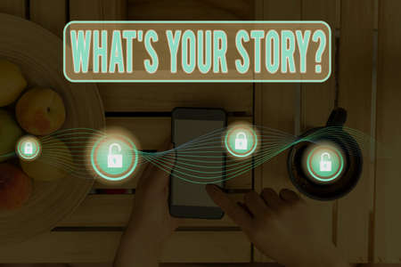 Writing note showing What S Your Story Question. Business concept for Share or tell us your life experiences and success Graphics padlock for web data information security application system