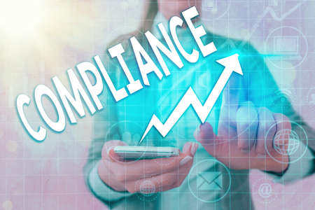 Writing note showing Compliance. Business concept for the action or fact of complying with a wish or commands Arrow symbol going upward showing significant achievement