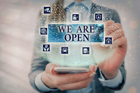 Text sign showing We Are Open. Business photo text no enclosing or confining barrier, accessible on all sides System administrator control, gear configuration settings tools concept Archivio Fotografico