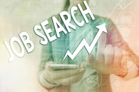 Writing note showing Job Search. Business concept for an act of sourcing for job openings and apply for a position Arrow symbol going upward showing significant achievement